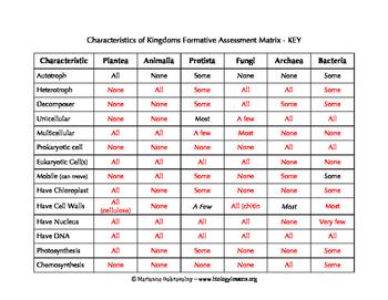 Characteristics Of Kingdoms Formativeessment Matrix