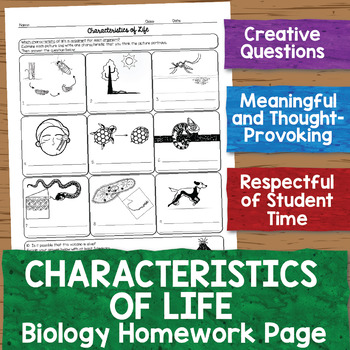 Characteristics of Life Biology Homework Worksheet by Science With ...