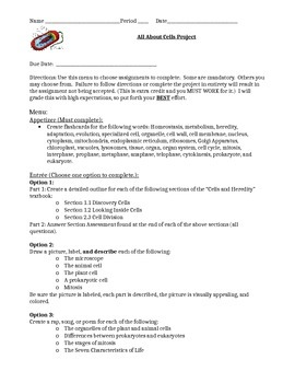 Characteristics of Life, Cell Parts, Types of Cells, Mitosis Review Project