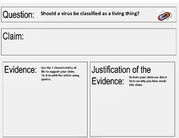 Characteristics of Life, Claim-Evidence-Reasoning Activity