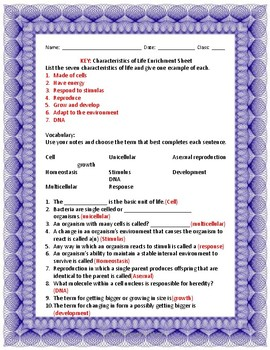 Characteristics of Life Enrichment Sheet