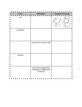 Characteristics of Life Interactive Vocabulary Sheets