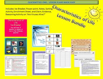Characteristics of Life Lesson Bundle With Claim, Evidence, and Reasoning