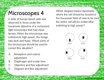 Characteristics of Life, Microscopes, Cells Warm Up or Exit Ticket Task Card Set
