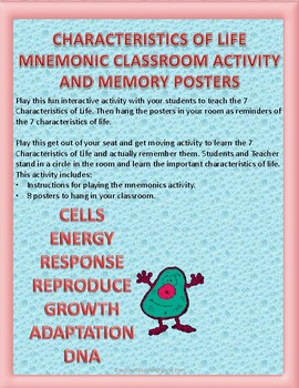 Characteristics of Life: Mnemonic Classroom Activity and Memory Posters