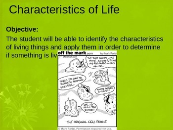 Characteristics of Life PowerPoint Lesson