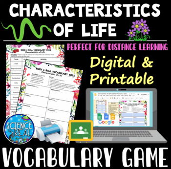 Characteristics of Life Vocabulary Rock & Roll Game Handout