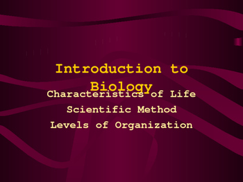 Characteristics of Life & Scientific Method Power Point