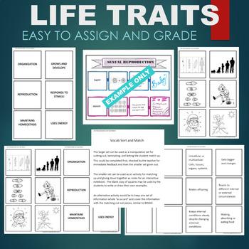 Characteristics of Life (Traits- Homeostasis, Energy, etc) Sort & Match Activity