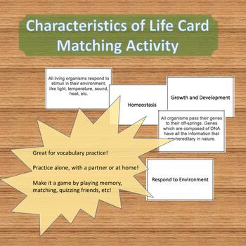 Characteristics of Life Vocabulary Matching Cards