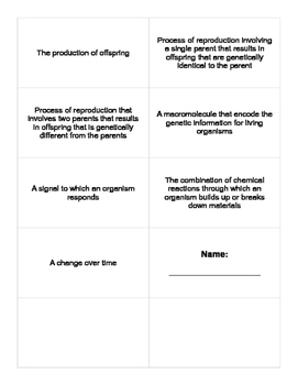 Characteristics of Life and Scientific Method Vocab Cards - Keystone Biology