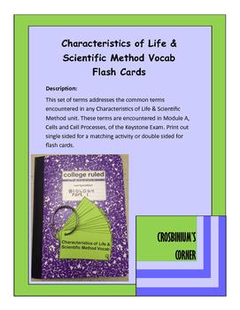 Characteristics of Life and Scientific Method Vocab Cards