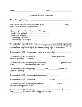 Characteristics of Life fill in the blank note sheet