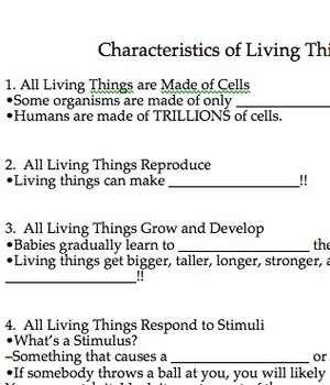 Characteristics of Living Things PowerPoint with Guided Notes