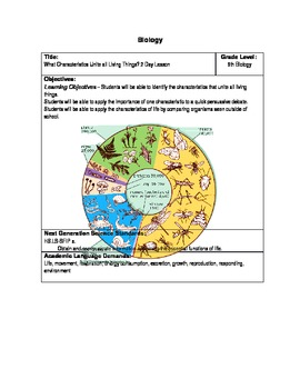 Characteristics of Living Things - 2 DAY LESSON PLAN - Next Gen Standards