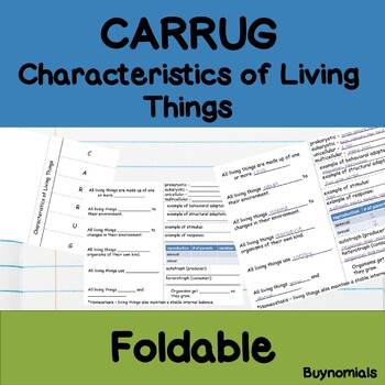 Characteristics of Living Things (CARRUG) Foldable