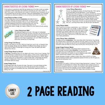 Characteristics of Living Things - Guided Reading