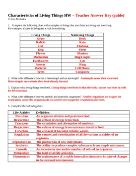 Characteristics of Living Things Homework Assignment