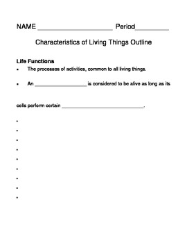 characteristics of living things notes outline lesson plan by lisa michalek. Black Bedroom Furniture Sets. Home Design Ideas
