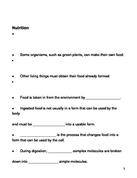Characteristics of Living Things Notes Outline Lesson Plan