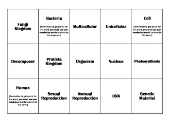 Characteristics of Living Things (Organisms) Catch Phrase Game
