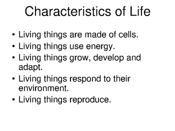Characteristics of Living Things Presentation