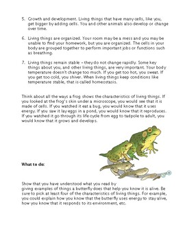 Characteristics of Living Things (Reading comprehension)