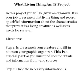 Characteristics of Living Things Research Project + Organizer