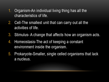 Characteristics of Living Things Vocabulary Powerpoint