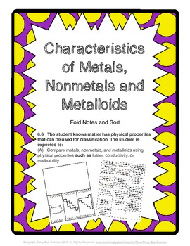 Characteristics of Metals, Metalloids, and Nonmetals Sort and Fold
