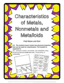 Characteristics of Metals, Metalloids, and Nonmetals Sort