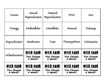 Characteristics of Organisms Vocabulary Connection Boards