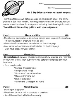Characteristics of Planets Research Project