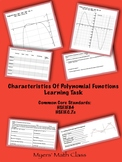 Characteristics of Polynomial Functions - Discovery Learning Task