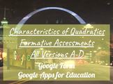 Characteristics of Quadratics Formative Assessments Bundle