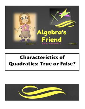 Characteristics of Quadratics True False Card Sort