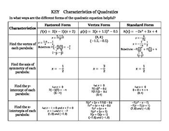 Characteristics of Quadratics-3 Forms of Equations (Standard, Vertex, Factored)