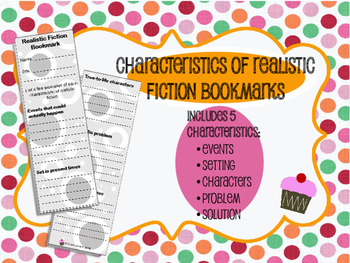 Characteristics of Realistic Fiction Bookmarks