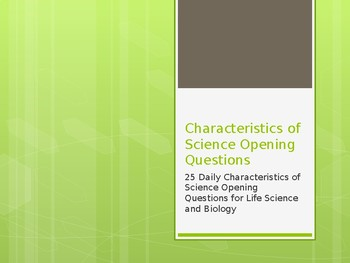 Characteristics of Science Opening Questions