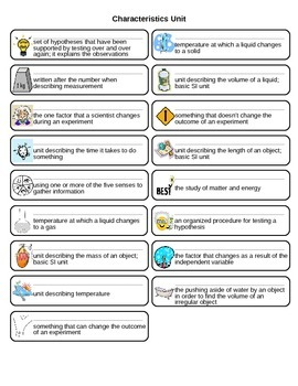 Characteristics of Science Vocabulary Flash Cards