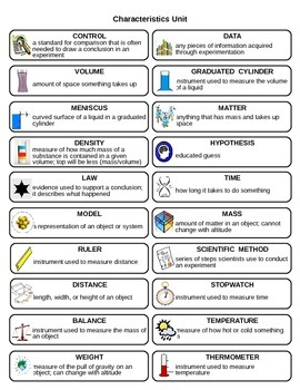 Characteristics of Science Vocabulary Flash Cards by Physical ...
