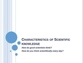 Characteristics of Scientific Knowledge and Method - Interactive Notebook