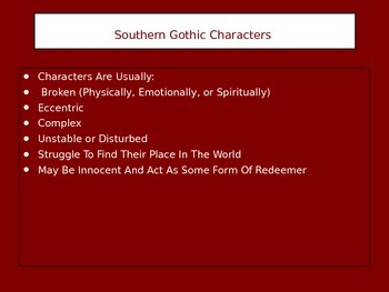 Characteristics of Southern Gothic Literature