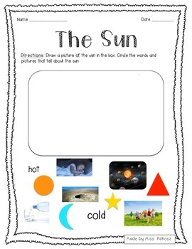 Characteristics of The Sun Worksheet