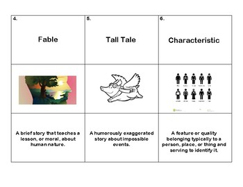Characteristics of Traditional Stories Vocabulary Card Sort