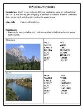 Characteristics of Various Land forms   LAB