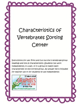 Characteristics of Vertebrates Center