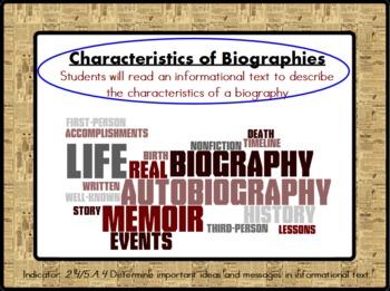 Characteristics of a Biography Lesson (ActivInspire Flipchart)