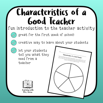 Characteristics of a Good Teacher First Day Activity