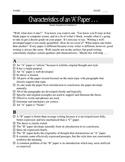 Characteristics of an 'A' Essay / Paper